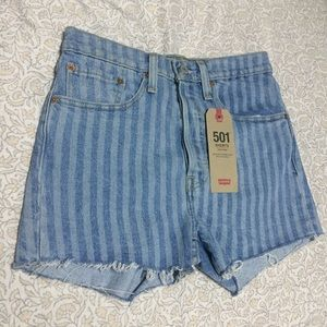 Stripe High Rise Levi's 501 Shorts
